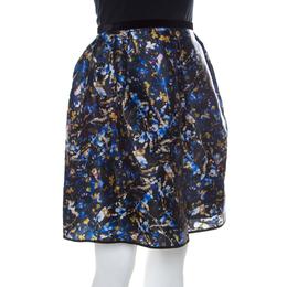Erdem Blue Floral Print Silk Gazar Levinia Gathered Skirt M 222331