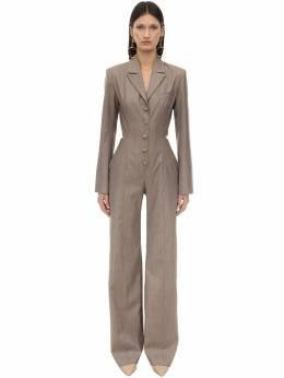 Pinstripe Wool Blend Jumpsuit Materiel 70IXA6017-UFNUUg2