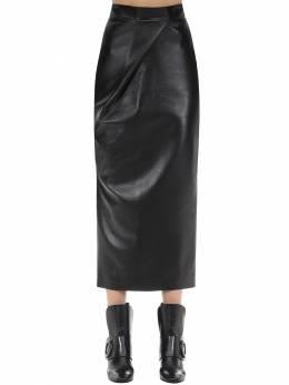 Draped Faux Leather Skirt Materiel 70IXA6004-QkxBSw2
