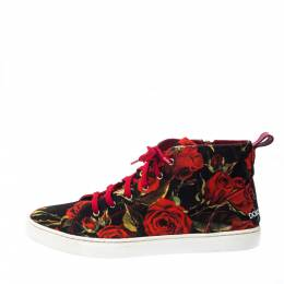 Dolce&Gabbana Red Floral Print Canvas High Top Sneakers Size 40 224111
