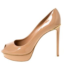 Louis Vuitton Beige Leather Eyeline Peep Toe Platform Pumps Size 40 224951
