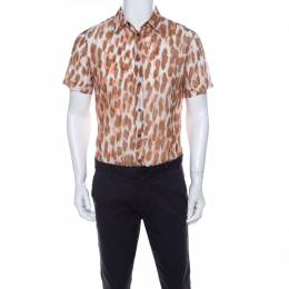 Roberto Cavalli Class Brown Ikkat Leopard Print Cotton Short Sleeve Shirt S