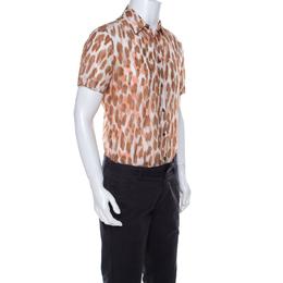 Roberto Cavalli Class Brown Ikkat Leopard Print Cotton Short Sleeve Shirt S 222391