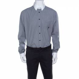 Roberto Cavalli Class Gingham Checked Cotton Contrast Collar Shirt 3XL