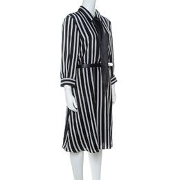 Alice + Olivia Employed Monochrome Striped Silk Necktie Detail Belted Dress L 223920