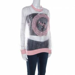 Kenzo Pink Paris Embroidered Sheer Pullover S 222067