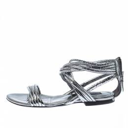 Burberry Metallic Silver Foil Leather Ankle Strap Flat Sandals Size 35 224855