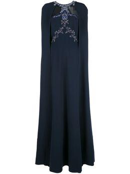 Marchesa Notte вечернее платье с кейпом и вышивкой бисером N34G1015