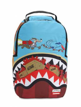 Coyote Shark Printed Canvas Backpack Sprayground 70IOEN023-TVVMVElDT0xPUg2