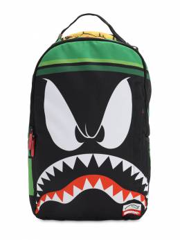 Martian Shark Printed Canvas Backpack Sprayground 70IOEN022-QkxBQ0s1