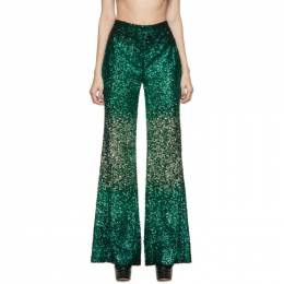 Halpern SSENSE Exlusive Green Sequin Stovepipe Trousers A19TR01.6