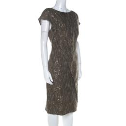 Escada Olive Green Sequinned Tweed Darouny Sheath Dress L 224433
