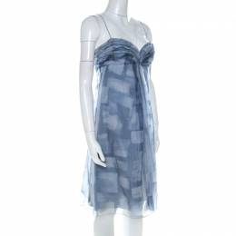 Armani Collezioni Blue Printed Silk Organza Ruched Bust Babydoll Dress M 224439