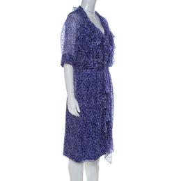 Jason Wu Purple Silk Chiffon Printed Ruffle Short Dress L 223945