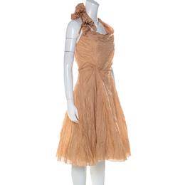 Celine Dusky Orange Silk Blend Ruched Detail Halter Neck Dress L 224683
