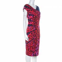Escada Red Leopard Print Jersey Radiant Seam Dress M 224112