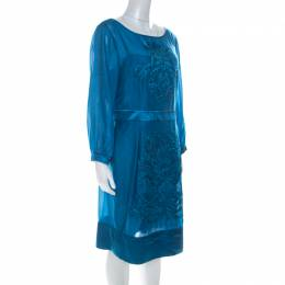 Philosophy Di Alberta Ferretti Teal Blue Cut Out Applique Detail Silk Dress L 223906