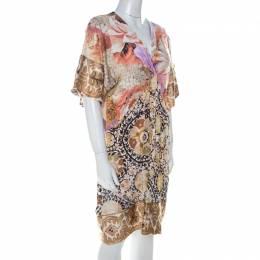 Roberto Cavalli Class Multicolor Mixed Print Short Dress S 224541