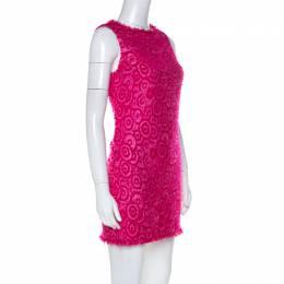 Alice + Olivia Pink Geometric Pattern Wool Blend Short Dress XS 224029