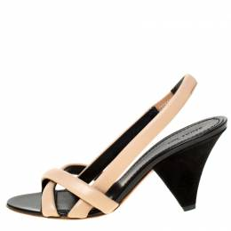 Celine Beige Leather Strappy Slingback Sandals Size 37 225146