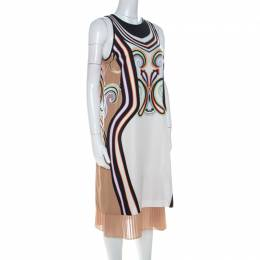 Etro Multicolor Printed Silk Crepe Pleated Hem Detail Midi Dress M 223896