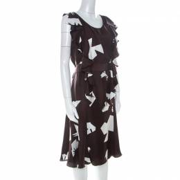 Oscar De La Renta Brown Abstract Print Silk Twill Ruffled Dress L 223899