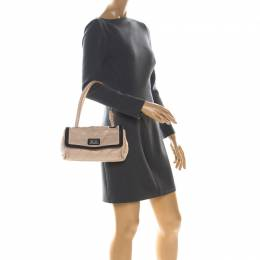 Chanel Beige/Black Quilted Leather Reissue Shoulder Bag 340951