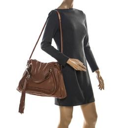 Chloe Brown Leather Large Paraty Shoulder Bag 223471