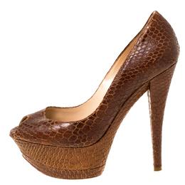 Casadei Brown Python Embossed Leather Peep Toe Platform Pumps Size 38 224887