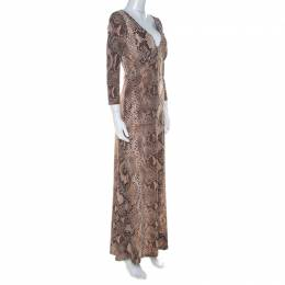 Roberto Cavalli Brown Python Print Front Lace Detail Maxi Dress M 223996