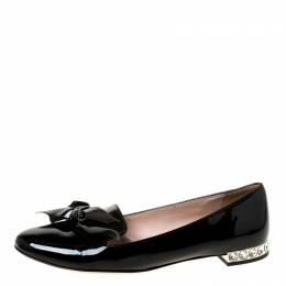 Miu Miu Black Patent Leather Studded Bow Ballet Flats Size 37.5 225112