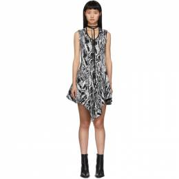 Mugler Black and White Tapestry A-Line Dress 19W1RO1170665
