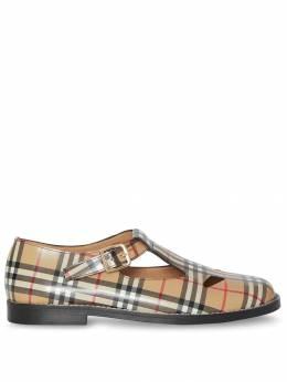 Burberry туфли с Т-образным ремешком в клетку Vintage Check 8010911