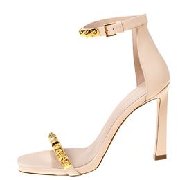 Stuart Weitzmann Blush Pink Leather Smart Stud Embellished Ankle Strap Open Toe Sandals Size 39 225463
