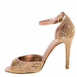 Gina Metallic Bronze Crystal Embellished Ankle Strap Sandals Size 37.5 225390