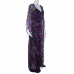 Matthew Williamson Purple Printed Silk Long Folded Hemline Kaftan Dress M 223645