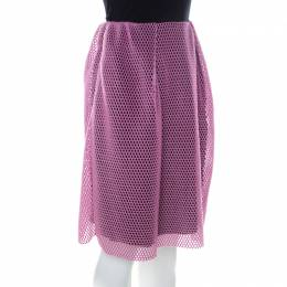 Carven Pink & Black Mesh Layered Skirt M