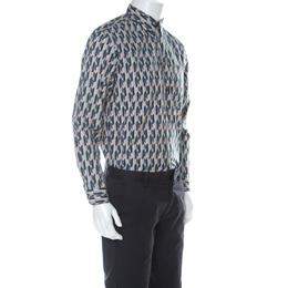 Prada Multicolor Graphic Printed Cotton Button Front Shirt XL 224679