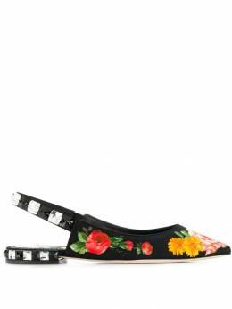 Dolce&Gabbana балетки с цветочным принтом CG0312AZ839