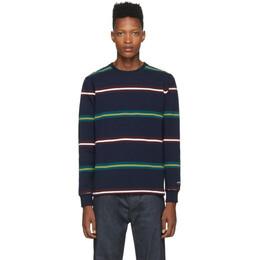Noah Nyc Navy Triple Stripe Long Sleeve T-Shirt KN9FW19