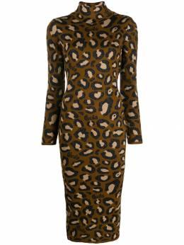 GCDS платье миди с леопардовым принтом FW20W020055