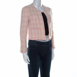 Chanel Vintage Pink Boucle Tweed Cropped Jacket M 225256