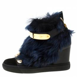 Giuseppe Zanotti Design Black/Blue Leather And Beaver Fur Lorenz High Top Wedge Sneakers Size 38.5