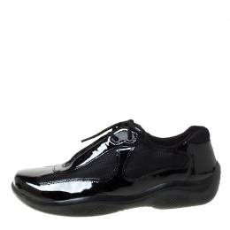 Prada Sport Black Patent Leather And Mesh Sneakers Size 39