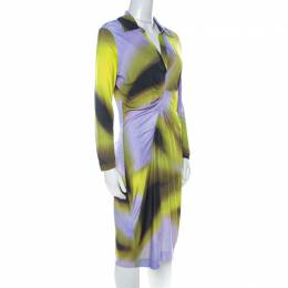 Escada Multicolor Fantasy Print Jersey Pleat Front Etiennise Dress M