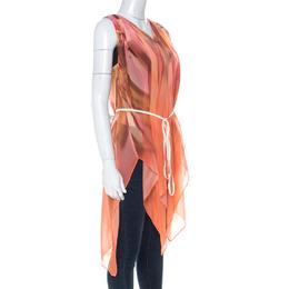 Escada Multicolor Fantasy Print Silk Handkerchief Hem Belted Nilou Blouse M 224169