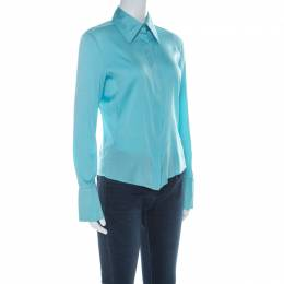 Gucci Light Blue Silk Pointed Collar Vintage Shirt M