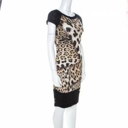 Roberto Cavalli Black and Brown Leopard Printed Jersey and Knit Short Dress S 224886