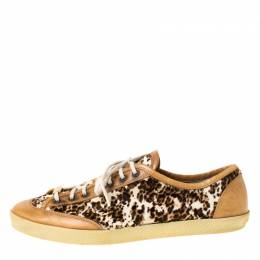 Burberry Brown Leather And Pony Hair Leopard Print Lace Up Sneakers Size 39 225108