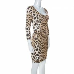 Just Cavalli Multicolor Leopard Print Fitted Three Quarter Sleeve Dress S
